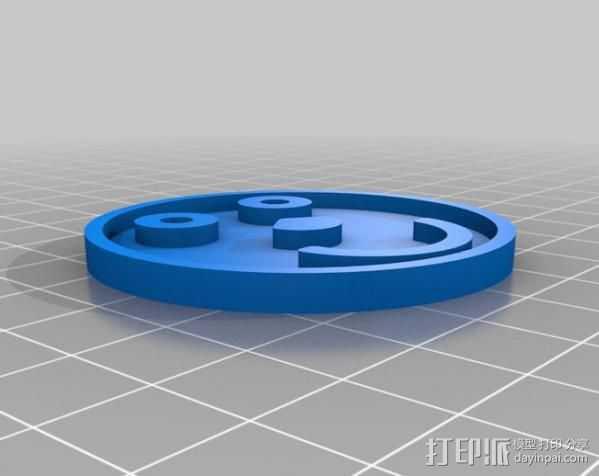 笑脸符徽章 3D打印模型渲染图