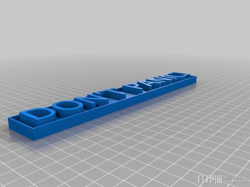Don't Panic标语板 标签 3D打印模型渲染图