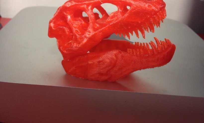 红色的 霸王龙 骨架 3D打印实物照片