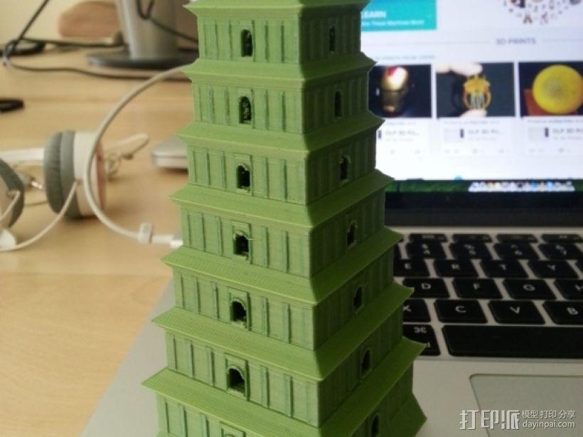 著名的大雁塔 3D打印模型渲染图