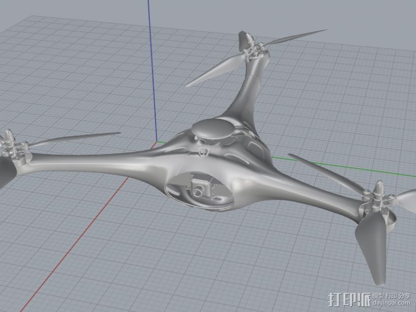 航拍飞行器 3D打印模型渲染图