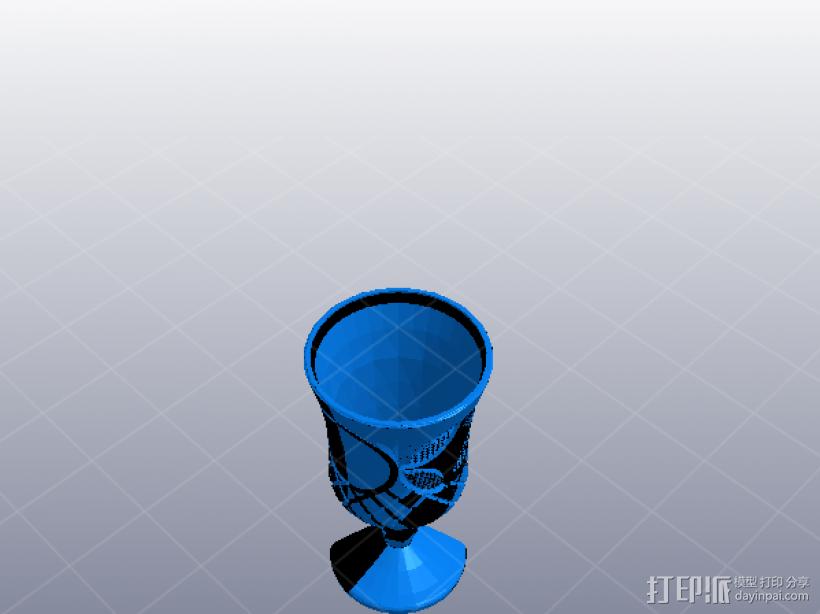 精致的高脚酒杯 3D打印模型渲染图