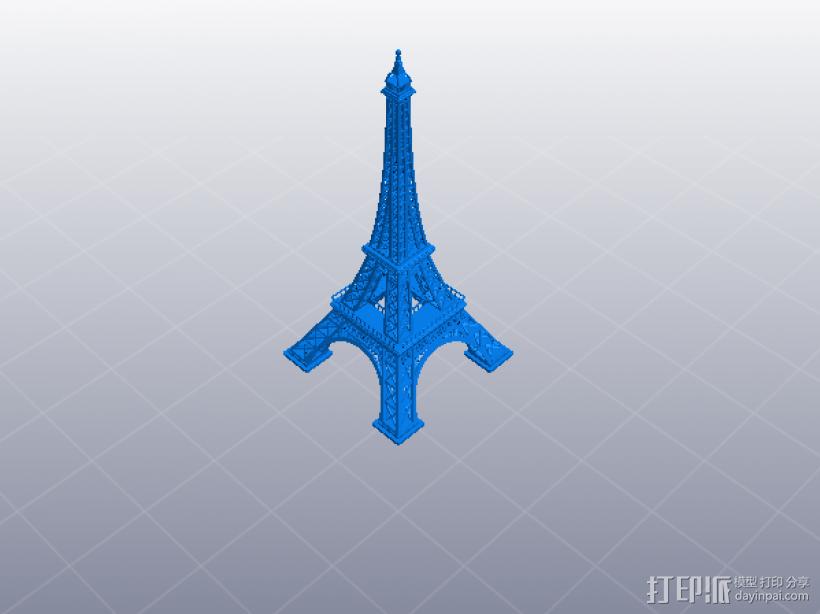 精致埃菲尔铁塔 3D打印模型渲染图