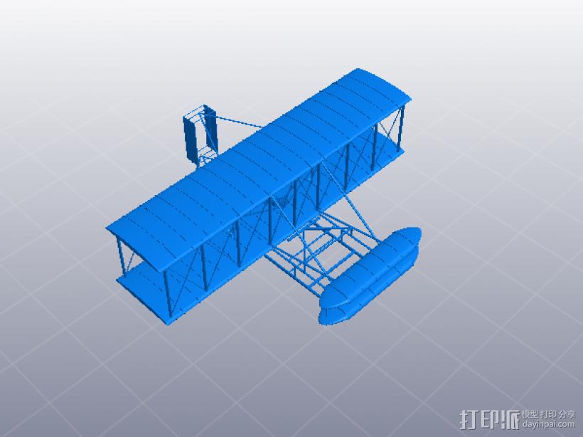 莱特兄弟的第一架飞机 3D打印模型渲染图