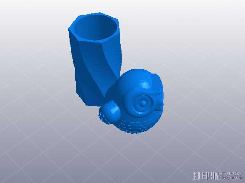 猫头鹰笔筒 3D打印模型渲染图