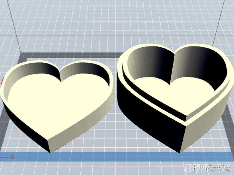心形盒子 3D打印模型渲染图
