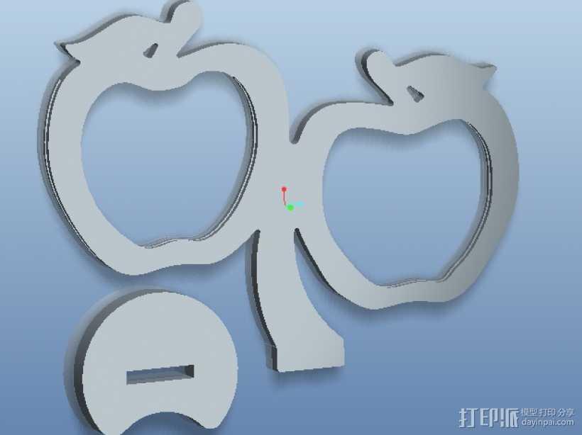 双苹果相框 3D打印模型渲染图