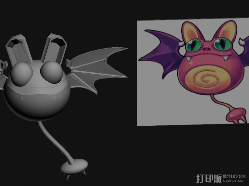 蝙蝠妖 3D打印模型渲染图