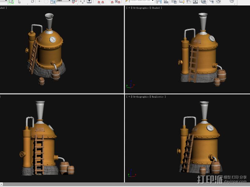 酿酒器 3D打印模型渲染图