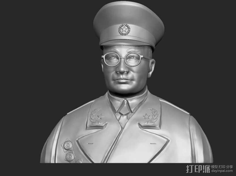 十大元帅 之 刘伯承 半身雕塑 3D打印模型渲染图