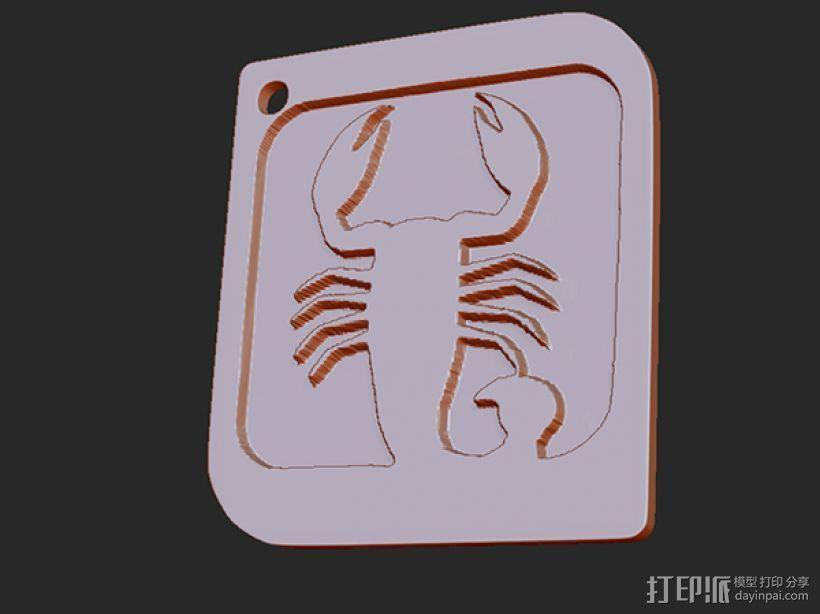 十二星座 系列 之 天蝎座 3D打印模型渲染图