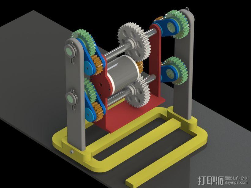 机器人行走机构 3D打印模型渲染图