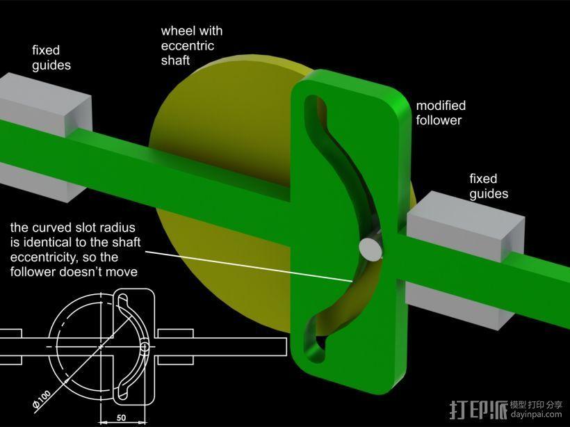 凸轮机构 3D打印模型渲染图