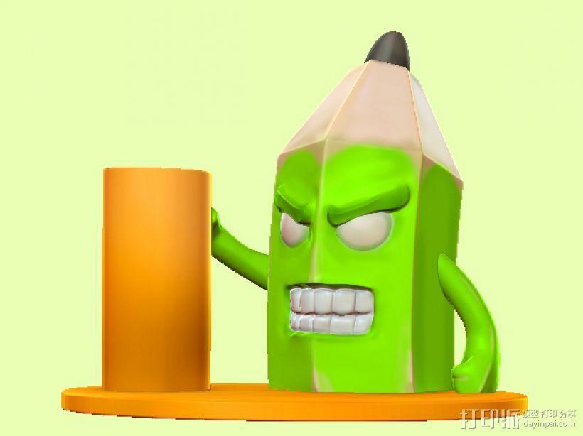愤怒的铅笔头-笔筒 3D打印模型渲染图
