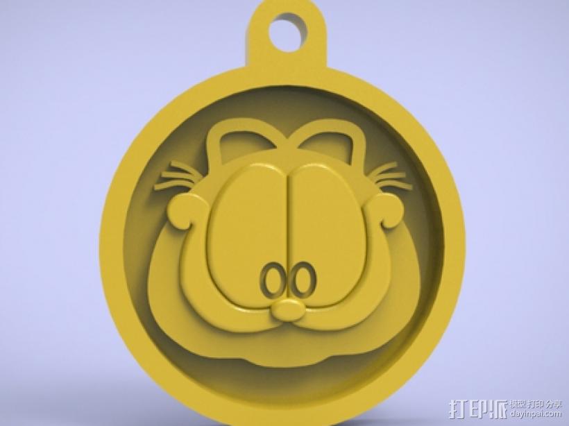3d打印加菲猫挂件 3D打印模型渲染图