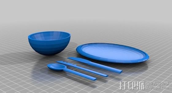 完整晚餐用具 3D打印模型渲染图
