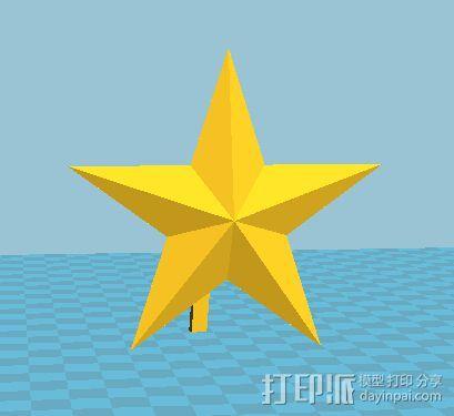 带支撑杆的红五星 3D打印模型渲染图
