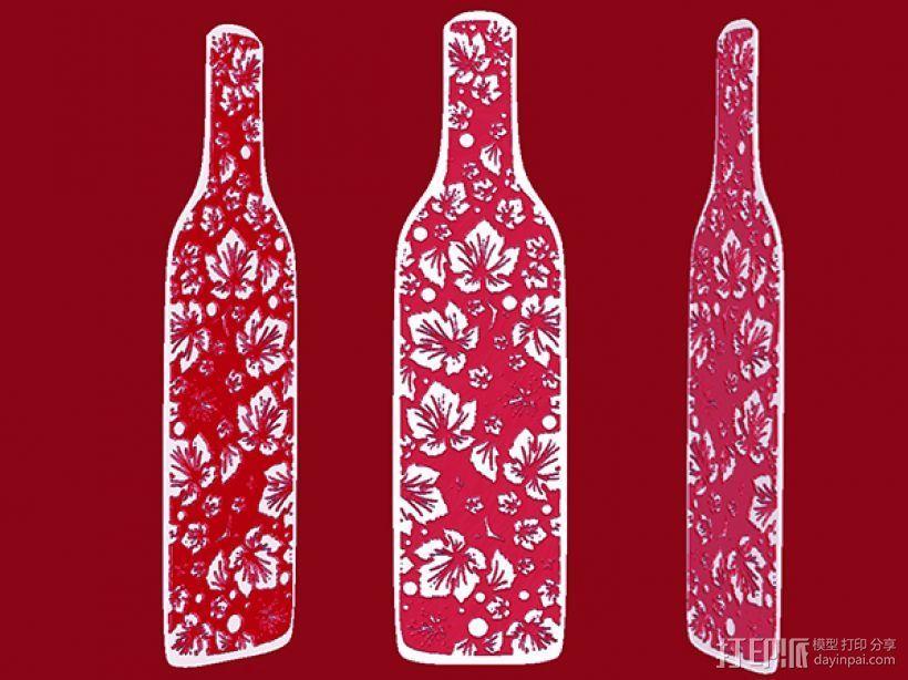花纹酒瓶书签 3D打印模型渲染图
