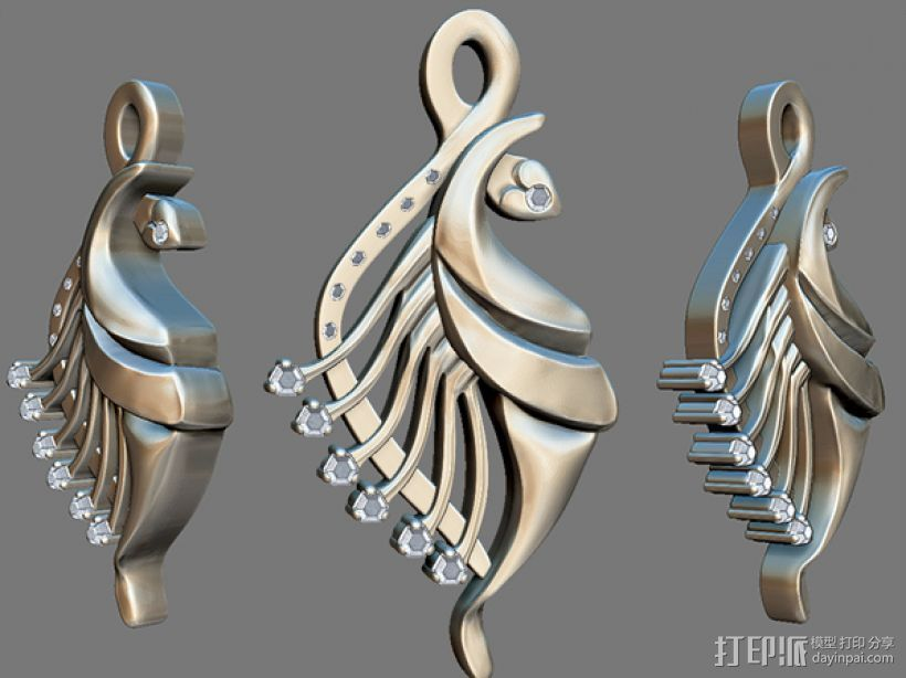 飞鱼吊坠模型 3D打印模型渲染图