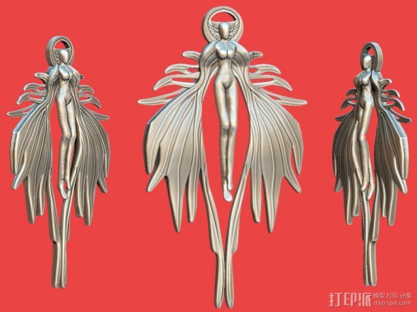 天使吊坠 3D打印模型渲染图