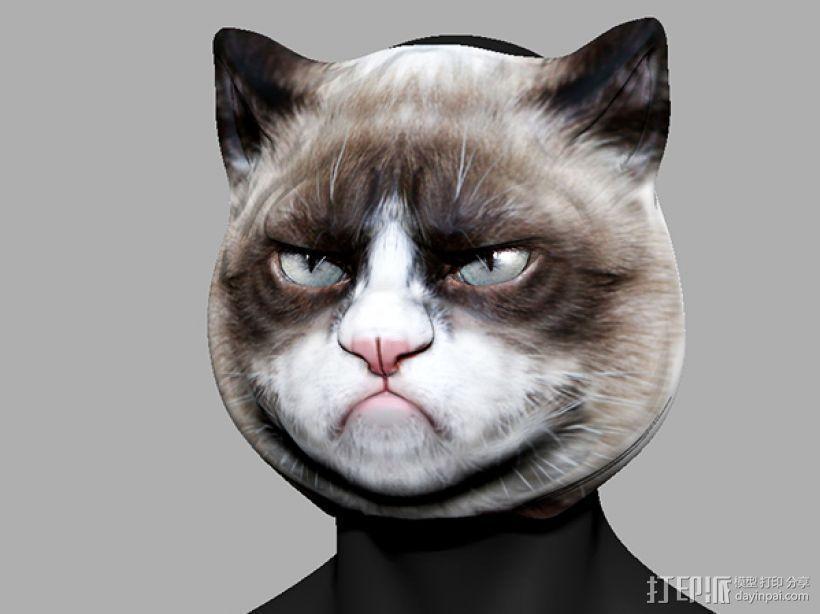 愤怒猫面具 3D打印模型渲染图