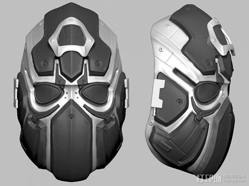 科幻机械面具 3D打印模型渲染图
