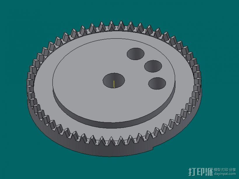 冠状齿轮 3D打印模型渲染图