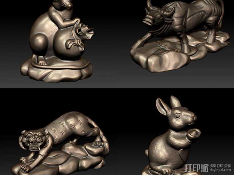 十二生肖 鼠 3D打印模型渲染图