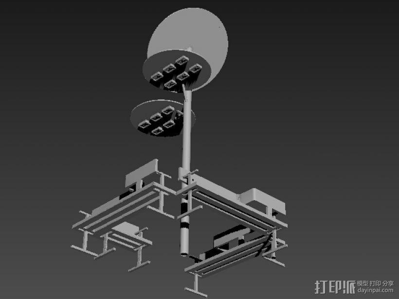 路灯和座椅 3D打印模型渲染图