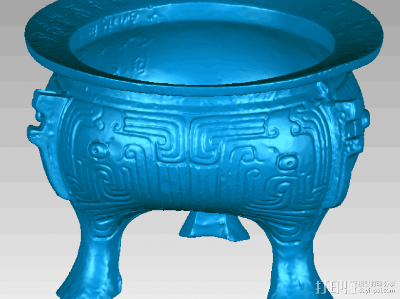 三足鼎,文物古董 3D打印模型渲染图