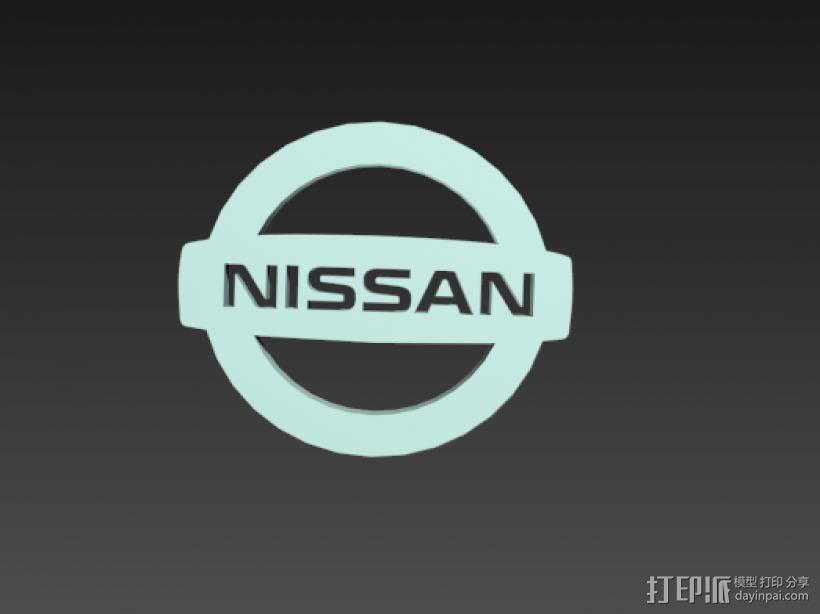 Nissan logo图标 3D打印模型渲染图