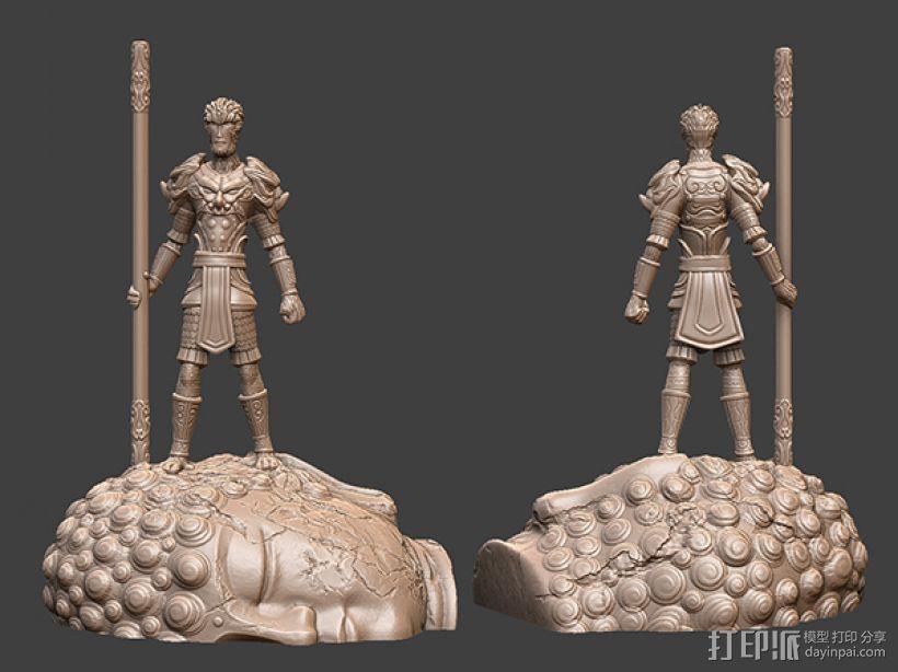 大圣归来之大圣+如来佛底座 3D打印模型渲染图