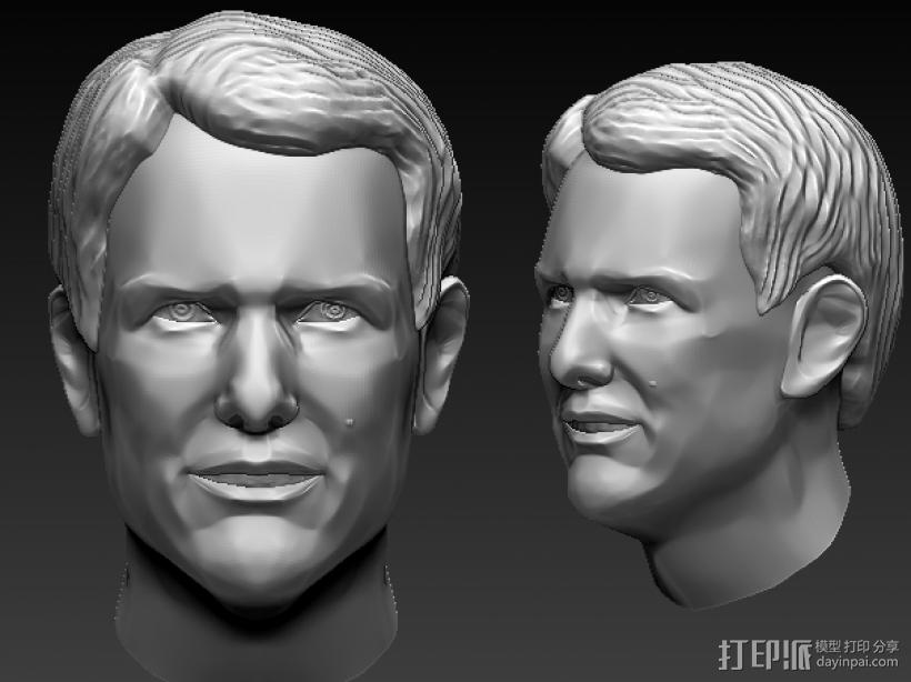 阿汤哥头部建模。 3D打印模型渲染图