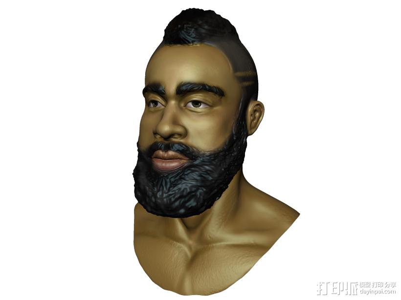 哈登 3D打印模型渲染图