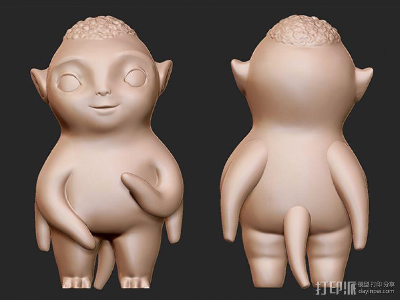 捉妖记之胡巴 3D打印模型渲染图