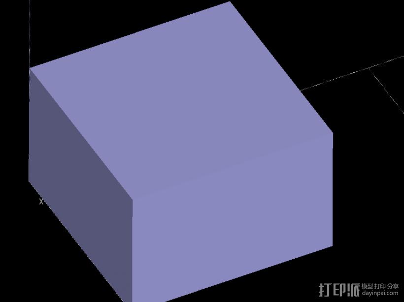 长方块 3D打印模型渲染图