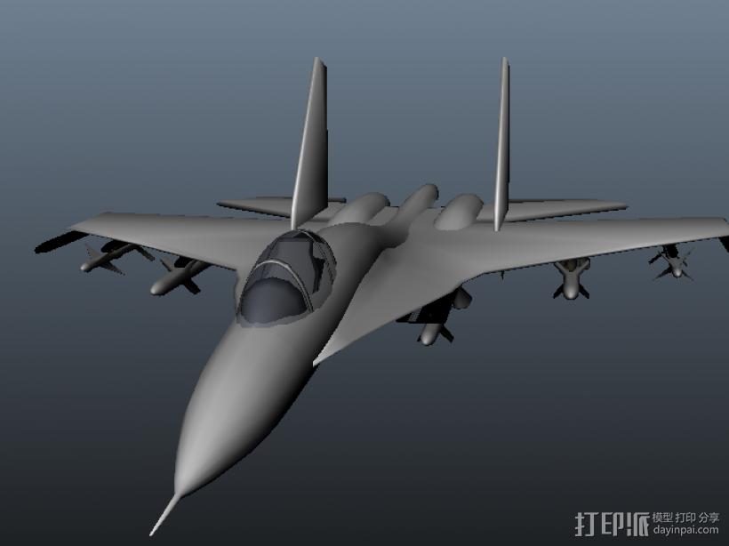 苏-27战机 3D打印模型渲染图