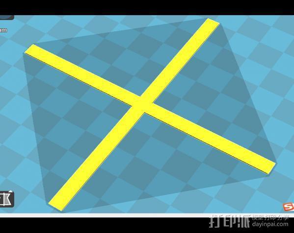 三角洲调平用十字架 3D打印模型渲染图