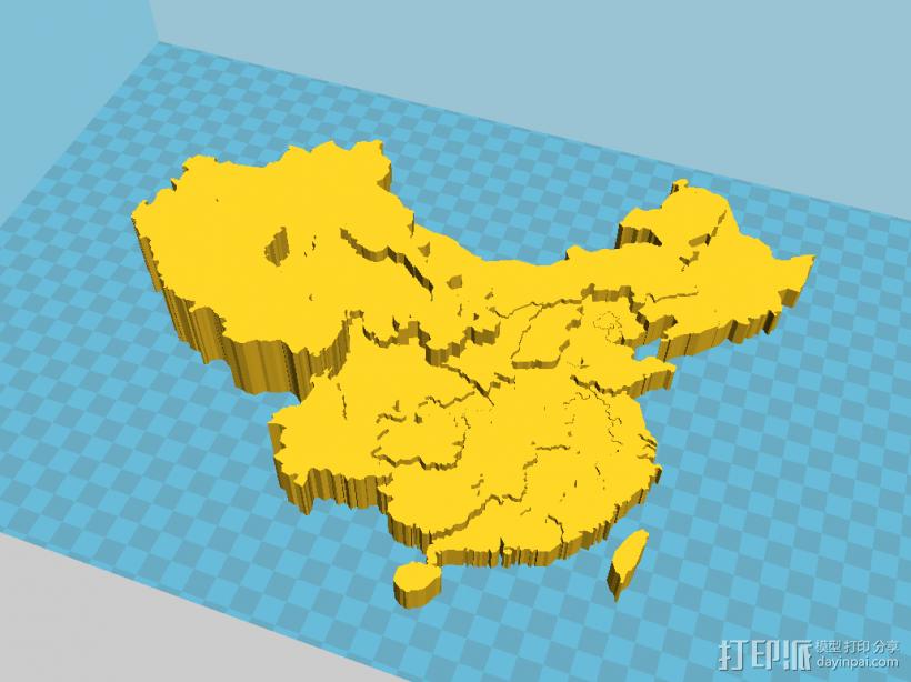 中国3D地图(精细,地势高低) 3D打印模型渲染图
