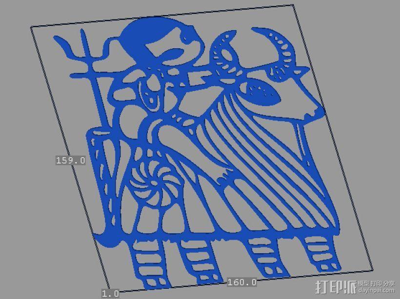 立体剪纸_十二生肖_牛 3D打印模型渲染图