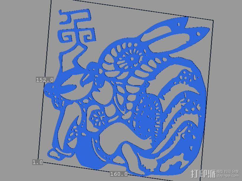 立体剪纸_十二生肖_兔 3D打印模型渲染图