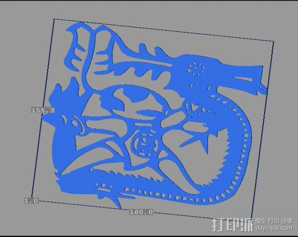 立体剪纸_十二生肖_龙 3D打印模型渲染图