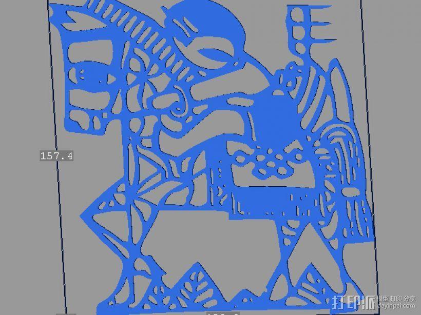 立体剪纸 十二生肖 马 3D打印模型渲染图
