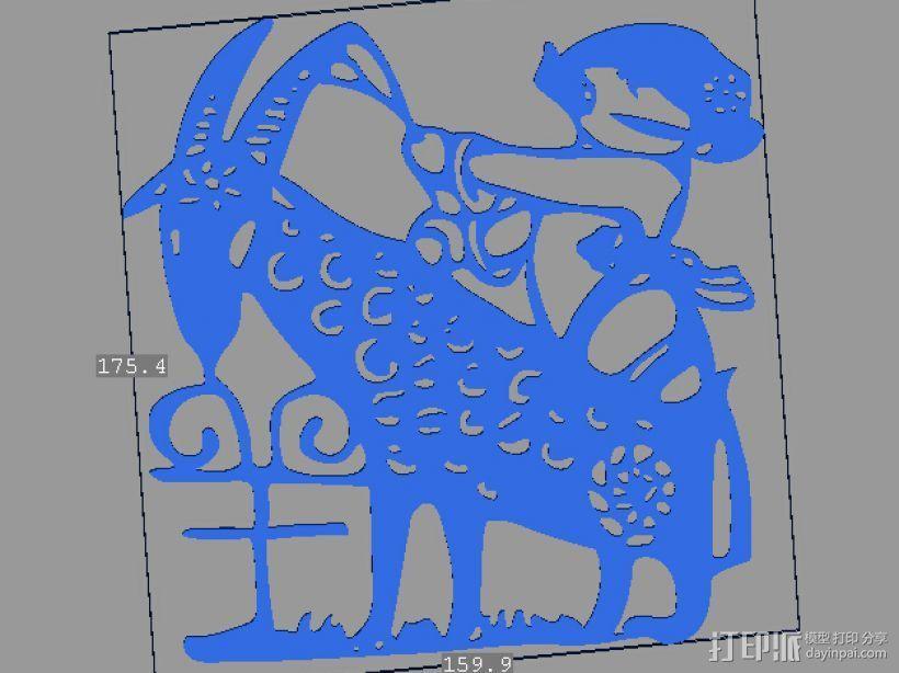 立体剪纸_十二生肖_羊 3D打印模型渲染图