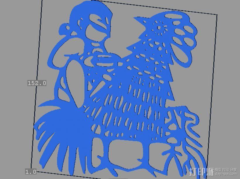 立体剪纸_十二生肖_鸡 3D打印模型渲染图