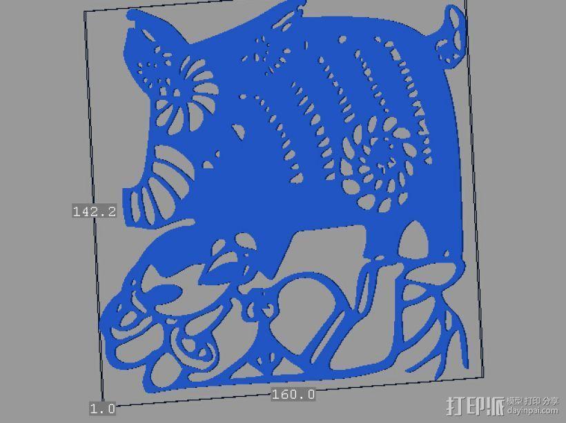 立体剪纸_十二生肖_猪 3D打印模型渲染图