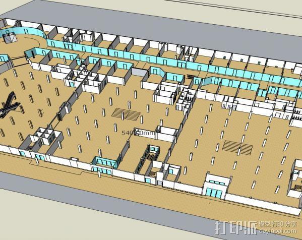 购物中心模型  3D打印模型渲染图