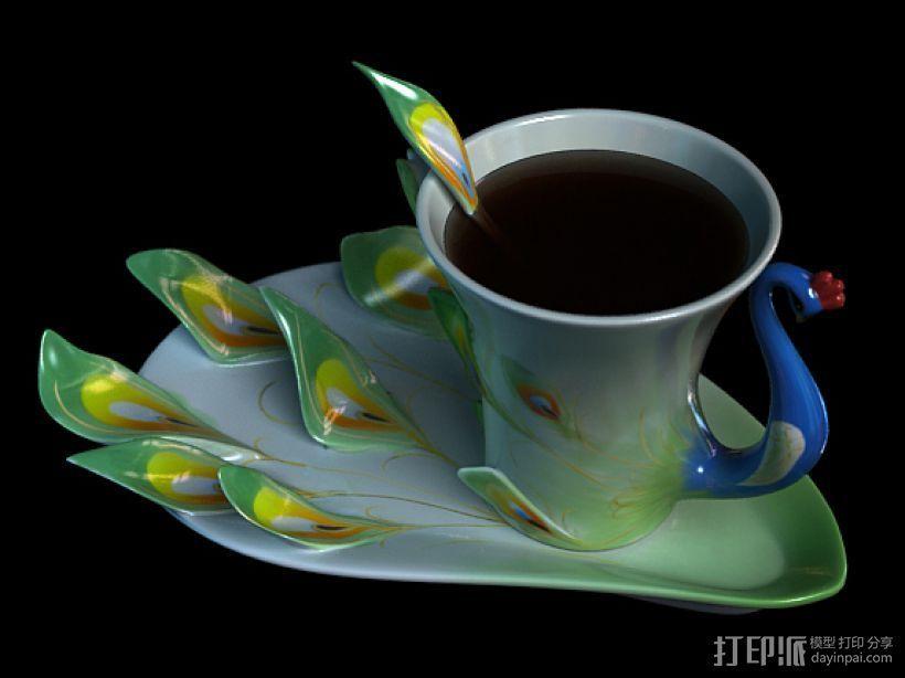 孔雀杯 3D打印模型渲染图