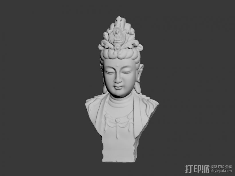 观音胸像 3D打印模型渲染图
