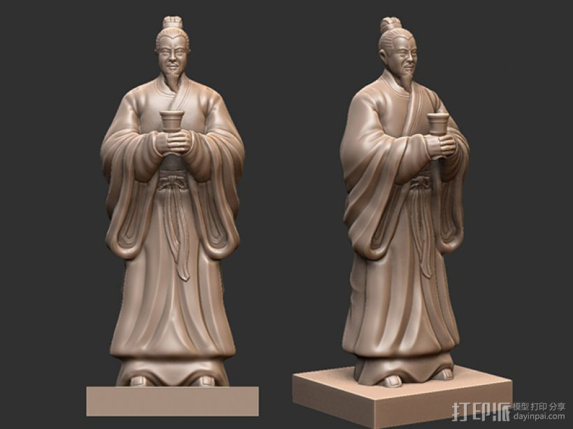三国演义桃园结义——刘备 3D打印模型渲染图
